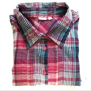 Women's Pink Plaid Button Down Flannel Top